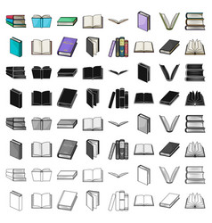 books set icons in cartoon style big collection vector image