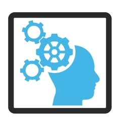 Brain Mechanics Framed Icon vector