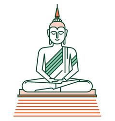 Buddha statue linecolor vector