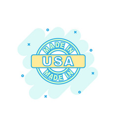 cartoon colored made in usa icon in comic style vector image