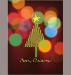 christmas tree and bokeh lights vector image