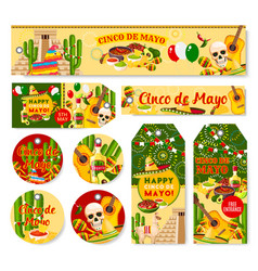 Cinco de mayo mexican holiday fiesta tags vector