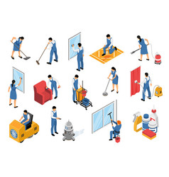 Cleaning service isometric set vector