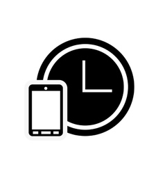 Clock and cellphone icon vector