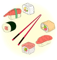 Colored sketchy sushi set vector image vector image