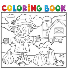 coloring book scarecrow topic 2 vector image