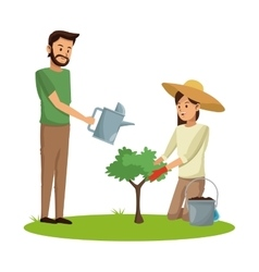 Couple planting and watering tree pot earth vector