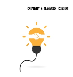 Creative light bulb idea and handshake sign vector image