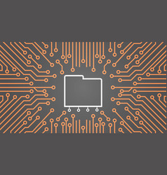 Database over computer chip moterboard background vector