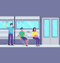 Disabled young man in public transportation vector