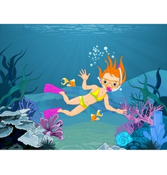 Diver Girl vector image