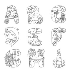 Doodle alphabet with rest on sea from a to i vector
