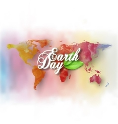 Earth Day background with the words world map and vector