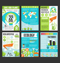 Ecology earth day poster template set vector
