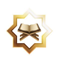 Eid mubarak golden star with koran book vector