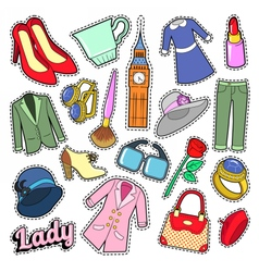 English Lady Woman Fashion Badges Patches vector image