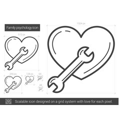 Family psychology line icon vector