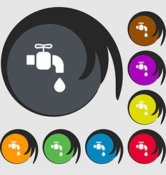 Faucet icon sign Symbols on eight colored buttons vector