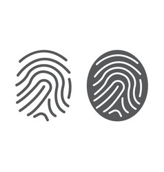 finger print line and glyph icon development vector image