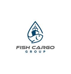 fish cargo logo design vector image