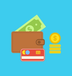 Flat colorful icons of wallet credit card dollar vector image