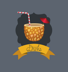 fresh and tropical cocktail in pineapple vector image