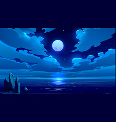 Full moon night ocean or sea landscape moonlight vector