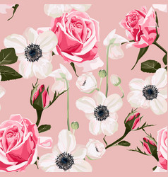 garden anemone flower and roses pattern vector image