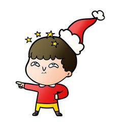 Gradient cartoon of a amazed boy wearing santa hat vector