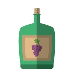 Green big wine bottle liquid drink grape cork vector