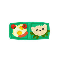 Green lunch box with fried eggs with tomatoes and vector