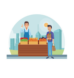 Grocery stand at city vector