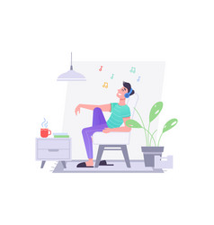 guy listen music on chair in headphones at home vector image