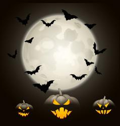 Halloween background with pumpkins and bats vector