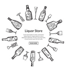 Hand drawn alcohol drink bottles vector