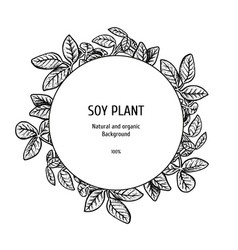 hand drawn background with soy plant vector image