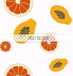 Hand drawn grapefruit and papaya Seamless pattern vector