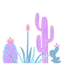 hand drawn pastel cactuses vector image