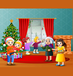 Happy family celebration a christmas in the living vector