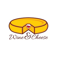 Head of cheese and wine glass in it design vector