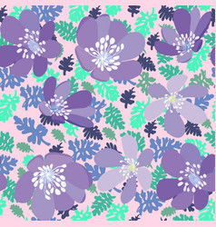 Herbs and flowers pattern texture on pink vector