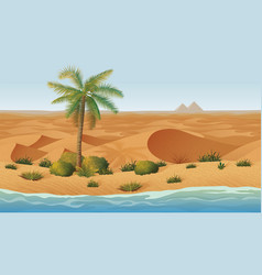 Horizontal seamless background with desert oasis vector