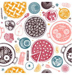 hot drinks homemade pies and desserts background vector image