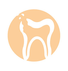 Human tooth with decay vector