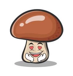 in love mushroom character cartoon vector image
