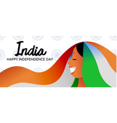 India independence day indian girl web banner vector