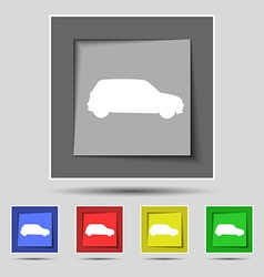 Jeep icon sign on original five colored buttons vector