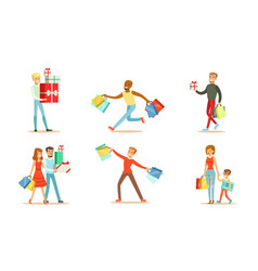 joyful people with shopping in bags and boxes vector image