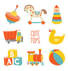 kids first toys icon set baby shower design vector image