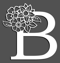 letter silhouette with flowers letter b vector image